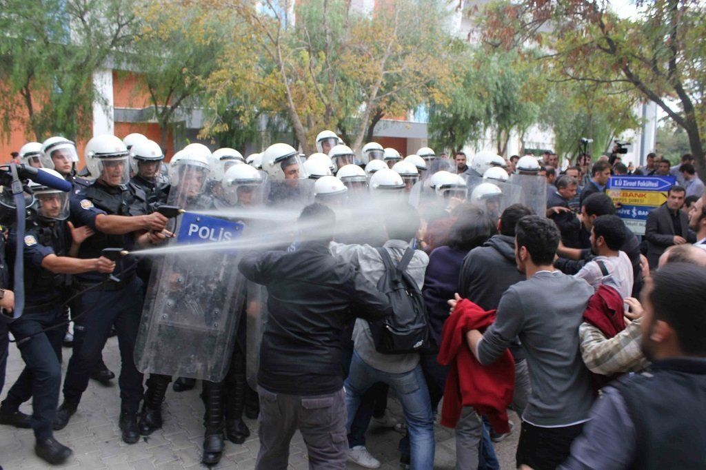 protest, politist